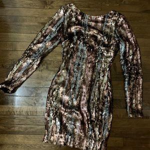 Dress the Population Long Sleeve Sequin Mini Dress